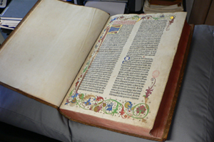The printing press eventually made the Bible more accessible tyo all. This is a copy of the Guttenberg Bible, one of the first books ever printed.